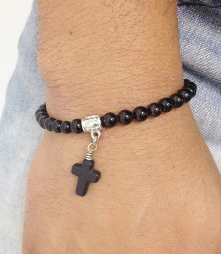 pulseira pedra natural ônix com crucifixo pedra turquesa