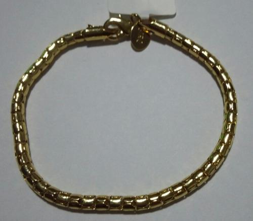 pulseira pipoca grossa folheada à ouro