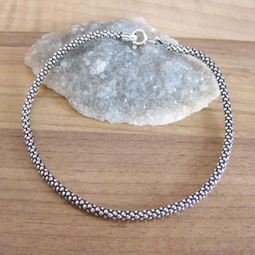 pulseira pipoca prata envelhecida 925 grossa tornozeleira
