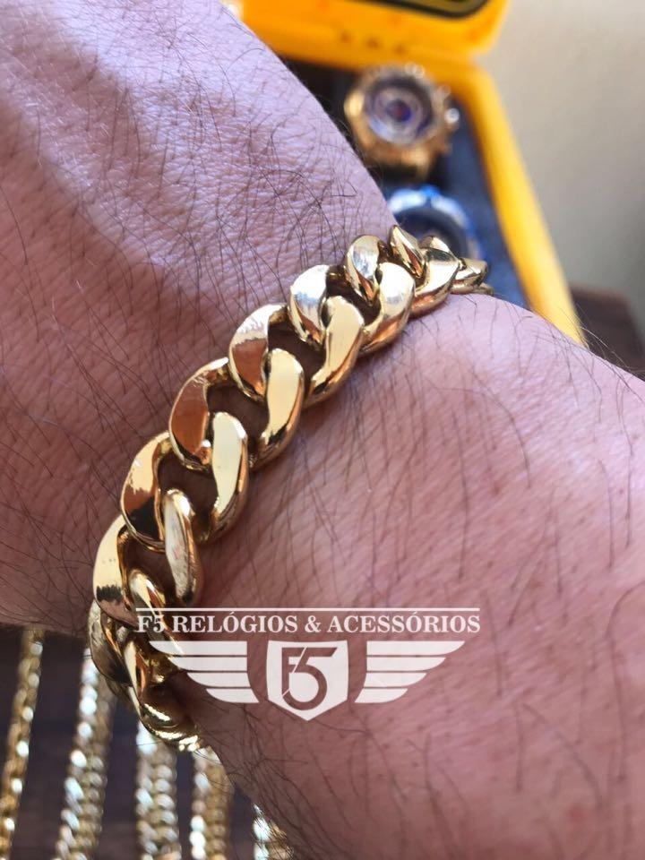 909f6d60132 pulseira pitbull banhada a ouro18k grossa 13mm com garantia. Carregando  zoom.