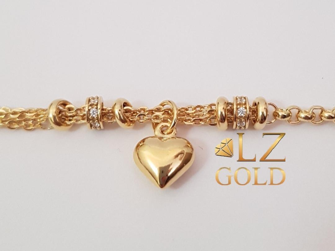 1037e828852 pulseira portuguesa berloques zirconia coração ouro 18k 750. Carregando  zoom.