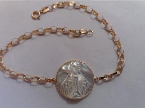 pulseira portuguesa oval ouro18k nossa senhora das graças