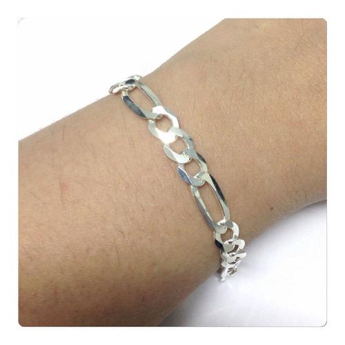 pulseira prata 925 elos 3x1  joia estilosa