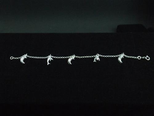 pulseira prata 925 golfinho lua porta jóias de brinde