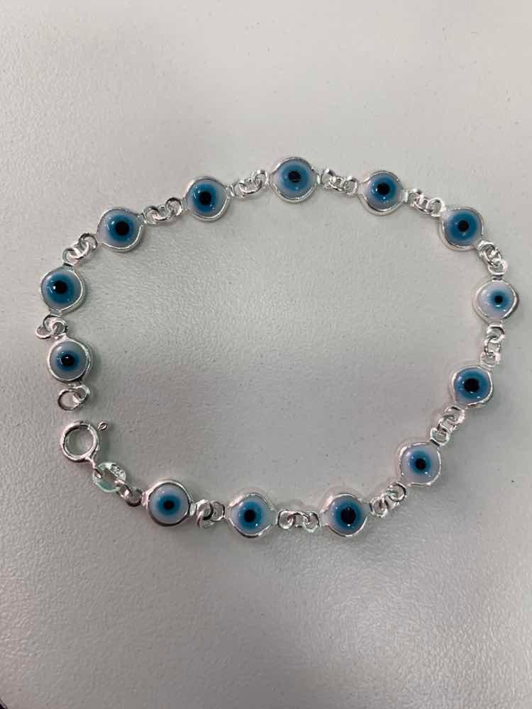 ab14491f10b pulseira prata 925 legítima olho grego branco. Carregando zoom.