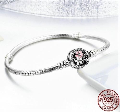 pulseira prata 925 p/charms pandora poesia de flores