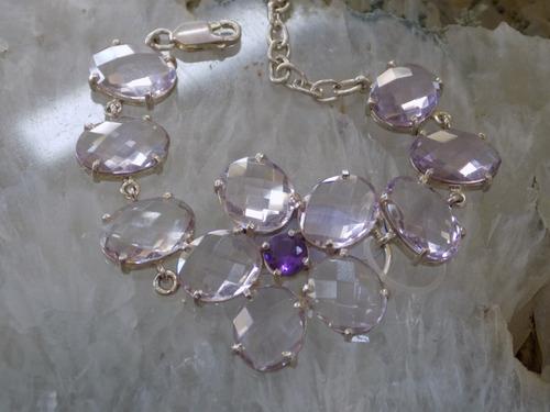 pulseira prata 950 ametista / cristal.