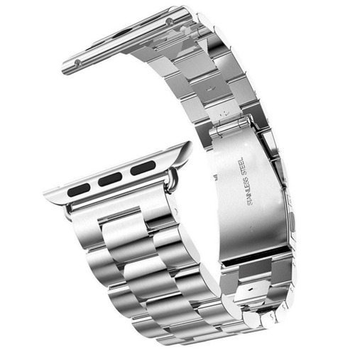 pulseira prata aço inox para relógio apple watch 42mm