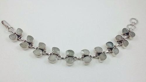 pulseira prata de bale - pedras naturais em tons verdes
