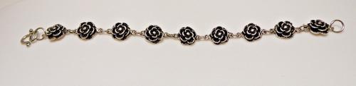 pulseira prata de bali 925 - flor e seus trabalhados