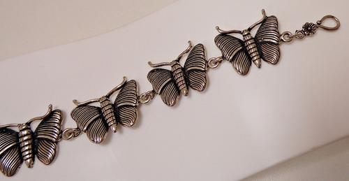 pulseira prata de bali - borboletas e seus trabalhados