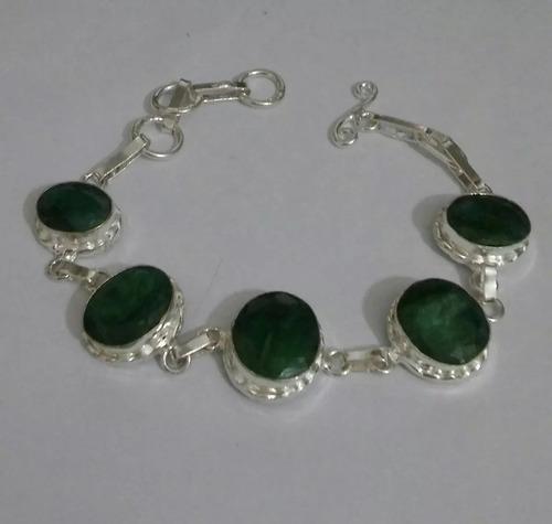 pulseira prata indiana pedra esmeraldas naturais indiana