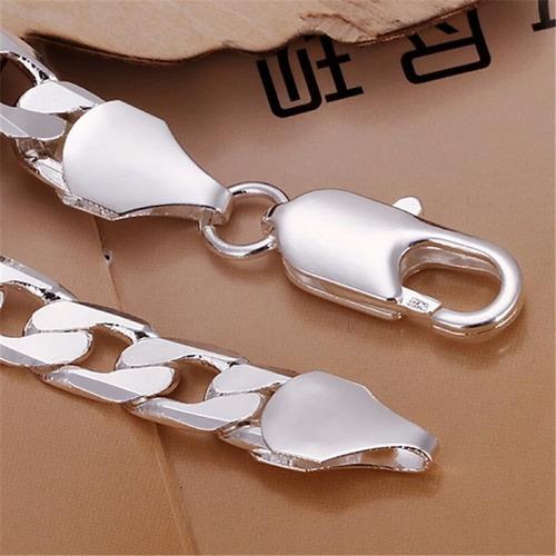 pulseira prata masculina banhada 20cm 8mm 925
