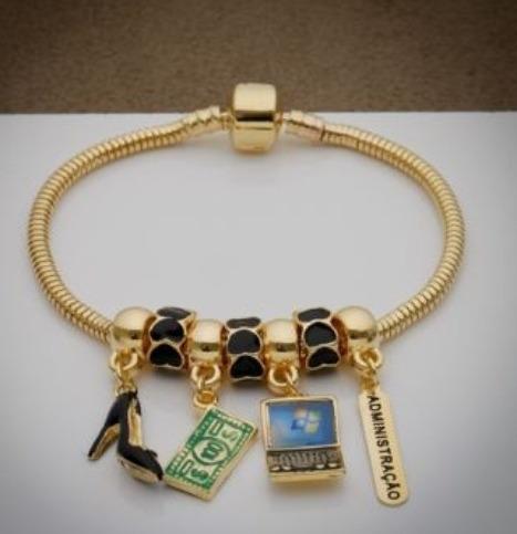 pulseira profissão, material folheado a ouro. garantia 1ano