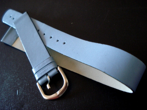 pulseira relógio 16 mm couro azul bebe semi inteiriça