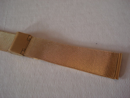 pulseira relógio folhada ouro aço 20 mm esteira