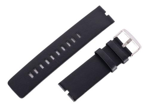 pulseira relógio moto 360 couro genuíno preta + película