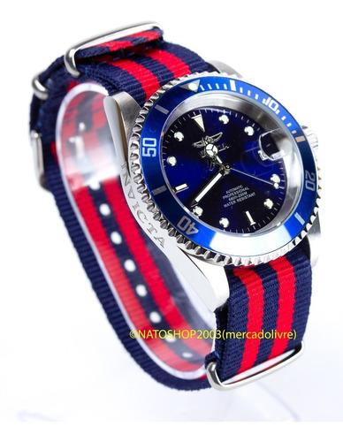 pulseira relógio nato nylon 18mm azul marinho vermelho
