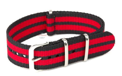 pulseira relógio nato nylon 18mm vermelho preto