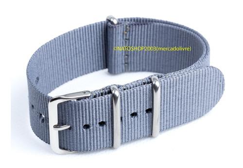 pulseira relógio nato nylon 20mm cinza 3 anéis