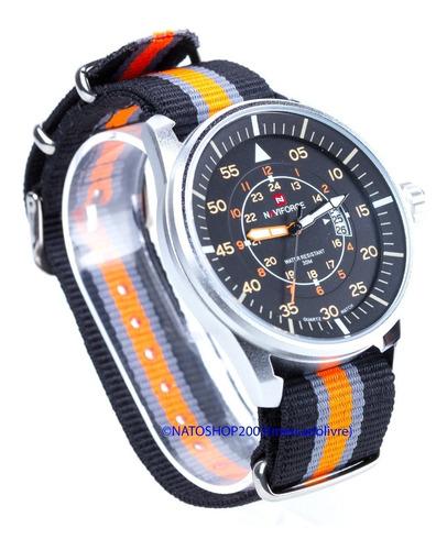 pulseira relógio nato nylon 20mm preto laranja cinza 3 anéis