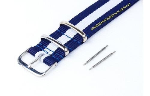 pulseira relógio nato nylon 24mm azul branco 3 anéis