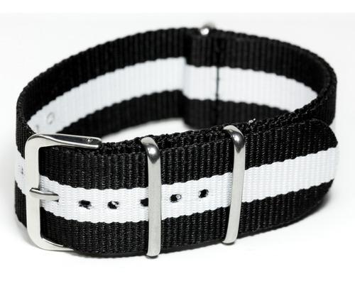 pulseira relógio nato nylon 24mm preto branco3 anéis