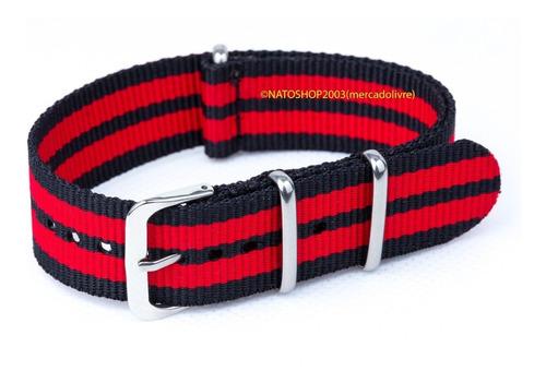 pulseira relógio nato nylon 24mm vermelho preto 3 anéis