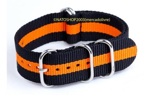 pulseira relógio nato zulu nylon 24mm preto laranja 5 anéis