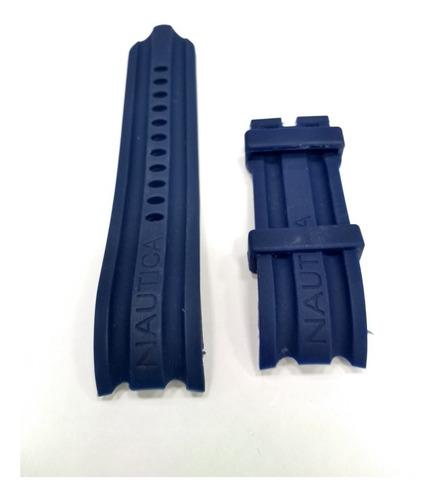 pulseira relogio nautica 24mm azul silicone