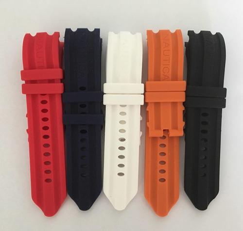 pulseira relógio nautica 24mm laranja silicone