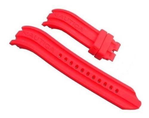 pulseira relógio nautica 24mm vermelha silicone