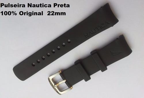 15e83ba7c17 Pulseira Relogio Nautica N11548m De 22mm Preta - R  79