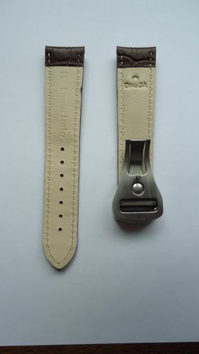 pulseira relógio omega 20mm couro marrom c/ prata deployant