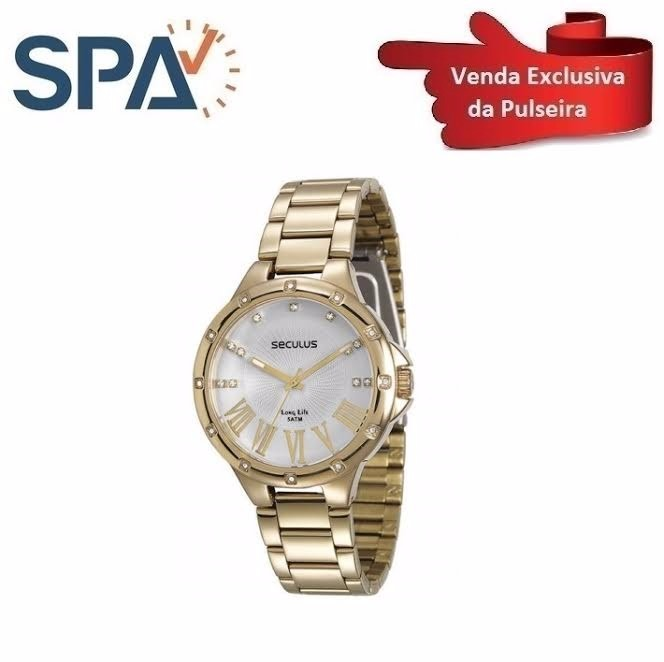 5620dfd1075 Pulseira Relógio Seculus Aço Folheada 28568lpsvda1 - R  119