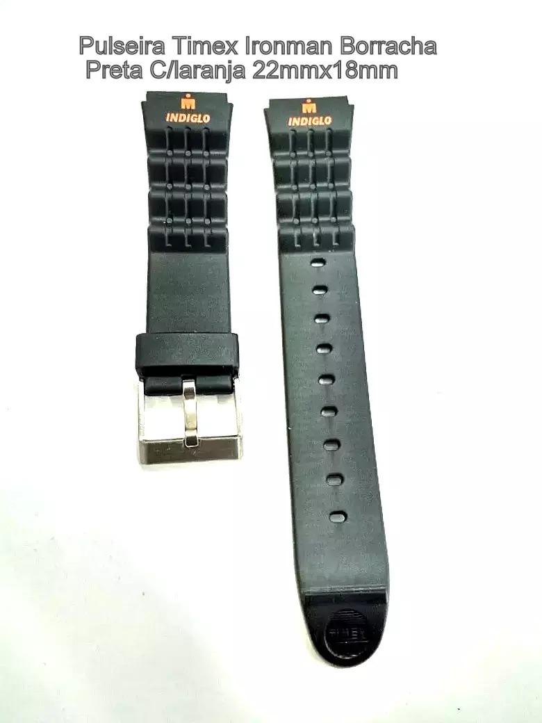 e062a1e97fc Pulseira Relogio Timex Ironman Preta 22x18mm Co.402008 - R  55