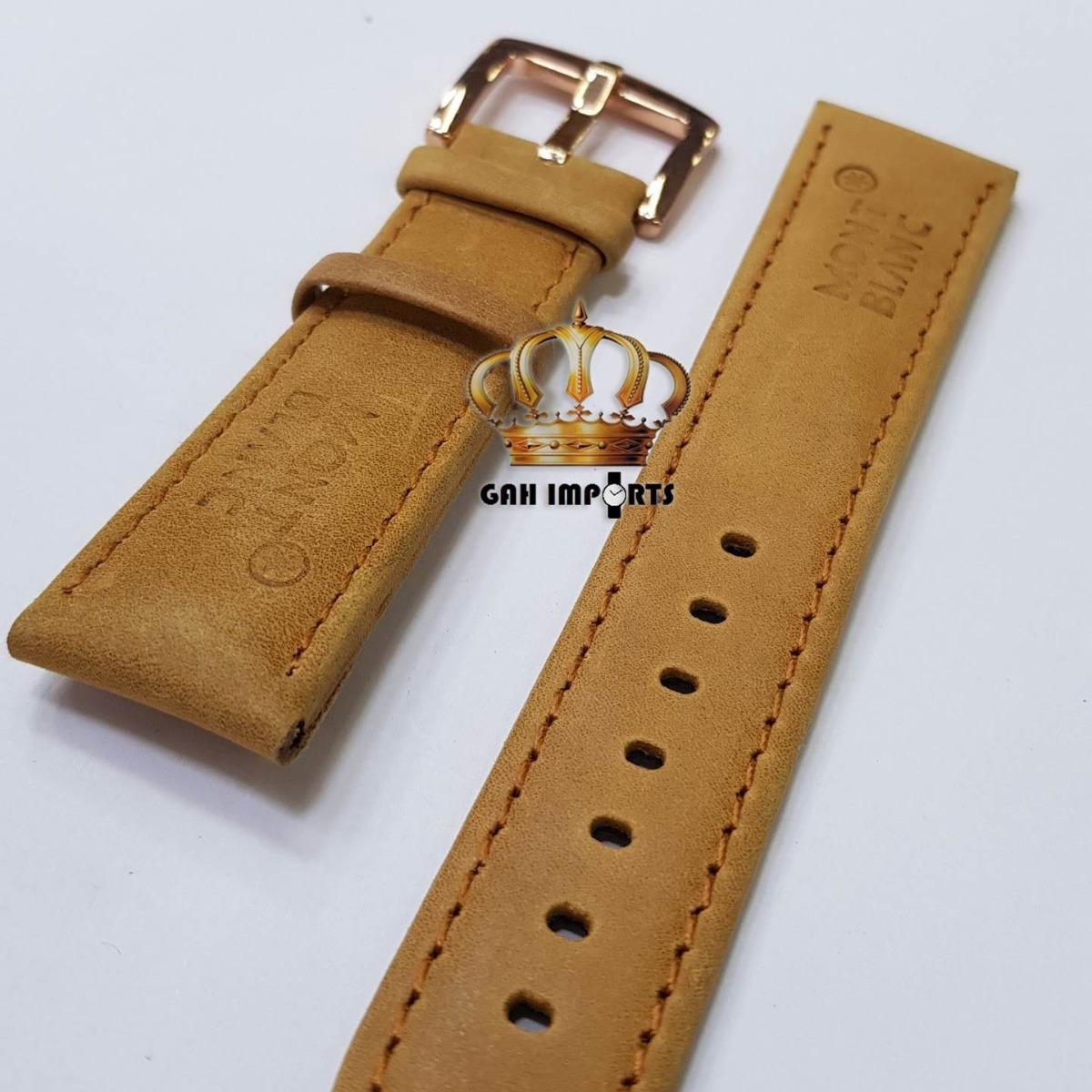 a311447ee7a pulseira relógios mont blanc 22 mm couro marrom com fivel. Carregando zoom.