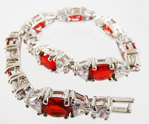 pulseira riviera folheada ouro zircônias cristais vermelhos