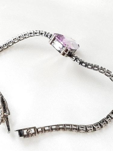 pulseira riviera ouro negro com ametista rose e diamantes