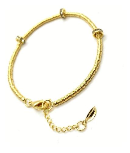 pulseira rondel de cristal em banho de ouro 18k 3116