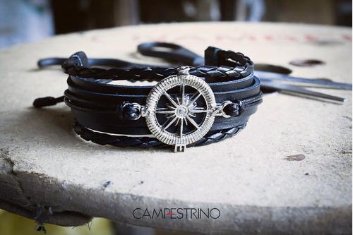 pulseira rosas dos ventos preta couro legítimo