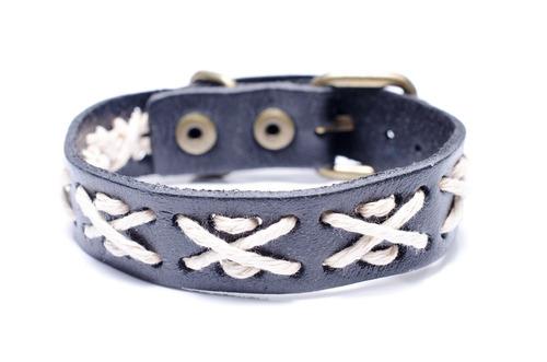 pulseira rustica de couro - ref: p071