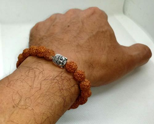 pulseira semente rudraksha - cabeça buda - com saquinho