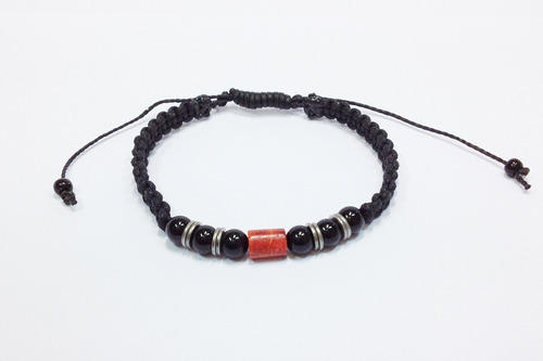 pulseira shambala masculina feminina onix e pedra coral