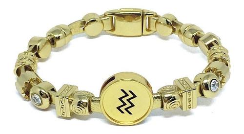 pulseira signo aquário dourada de couro pulseiraria chic