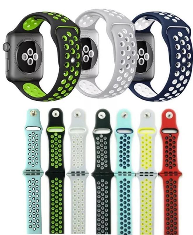 d4a695b0203 Pulseira Silicone Furo Nike Para Apple Watch 1