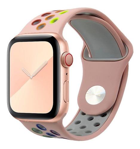 pulseira silicone furo para apple watch  exclusiva pride