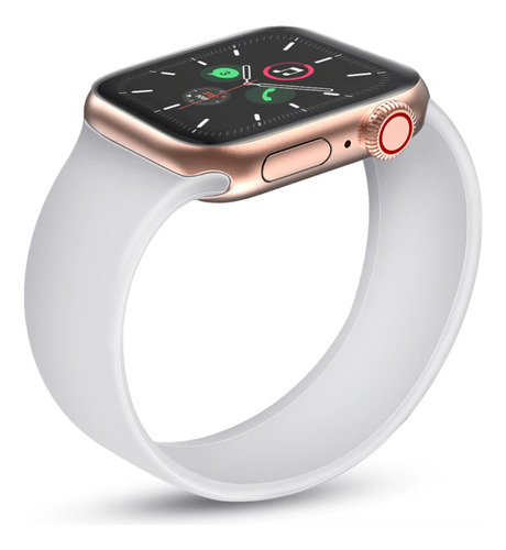 pulseira silicone loop solo p/ apple watch 42/44mm branca m