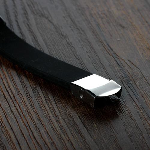 pulseira silicone masculina placa preta pai nosso aço inox