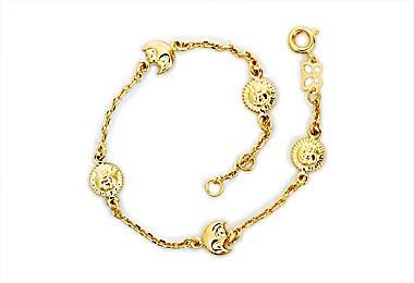 pulseira sol e lua intercalados ouro rommanel